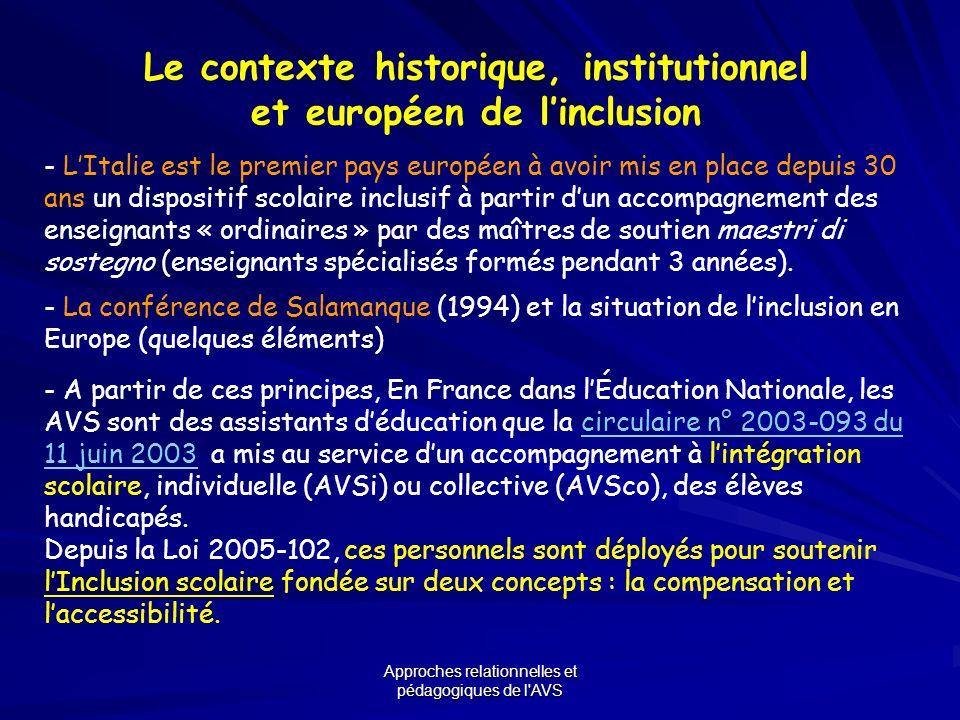 Le contexte historique, institutionnel et européen de l'inclusion