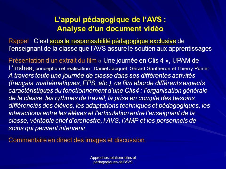 L'appui pédagogique de l'AVS : Analyse d'un document vidéo