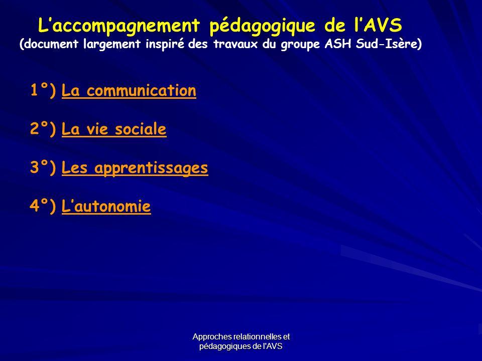 L'accompagnement pédagogique de l'AVS
