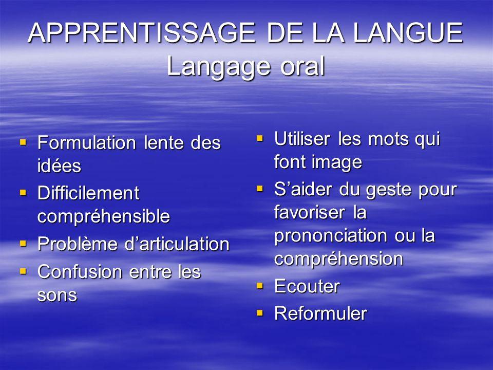 APPRENTISSAGE DE LA LANGUE Langage oral
