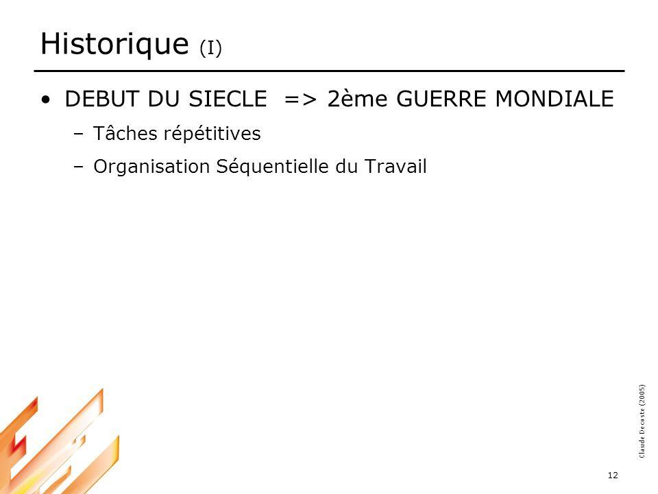 Historique (I) DEBUT DU SIECLE => 2ème GUERRE MONDIALE
