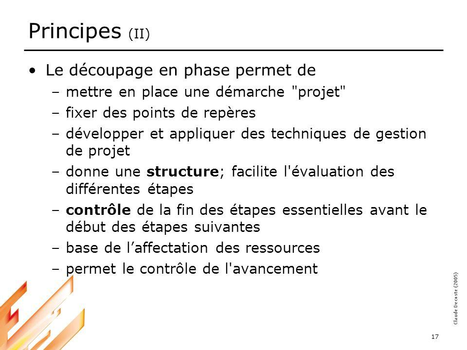 Principes (II) Le découpage en phase permet de