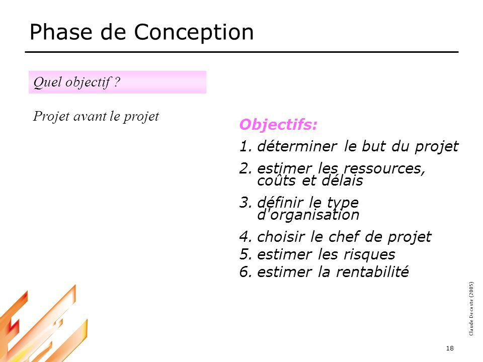 Phase de Conception Quel objectif Projet avant le projet Objectifs: