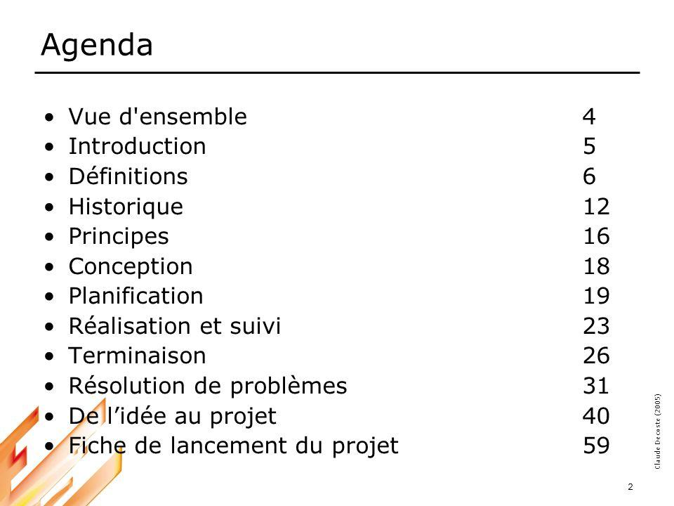 Agenda Vue d ensemble 4 Introduction 5 Définitions 6 Historique 12
