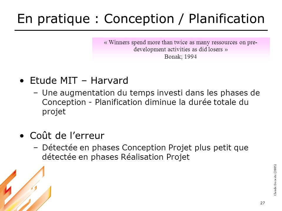 En pratique : Conception / Planification