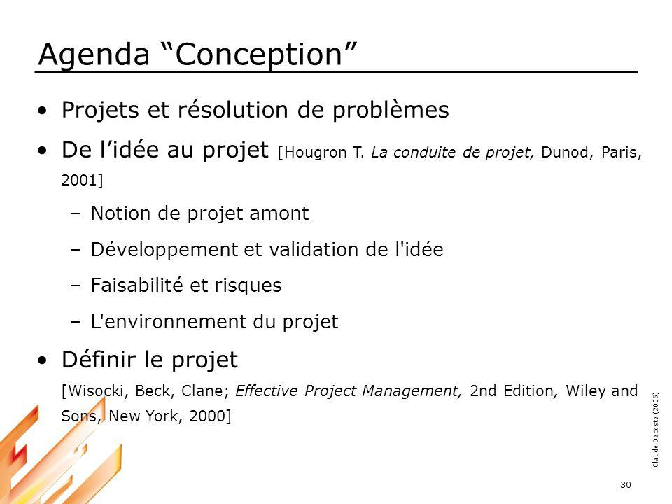 Agenda Conception Projets et résolution de problèmes