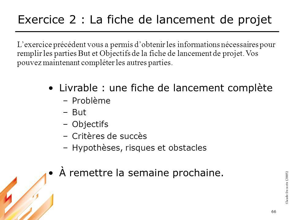 Exercice 2 : La fiche de lancement de projet