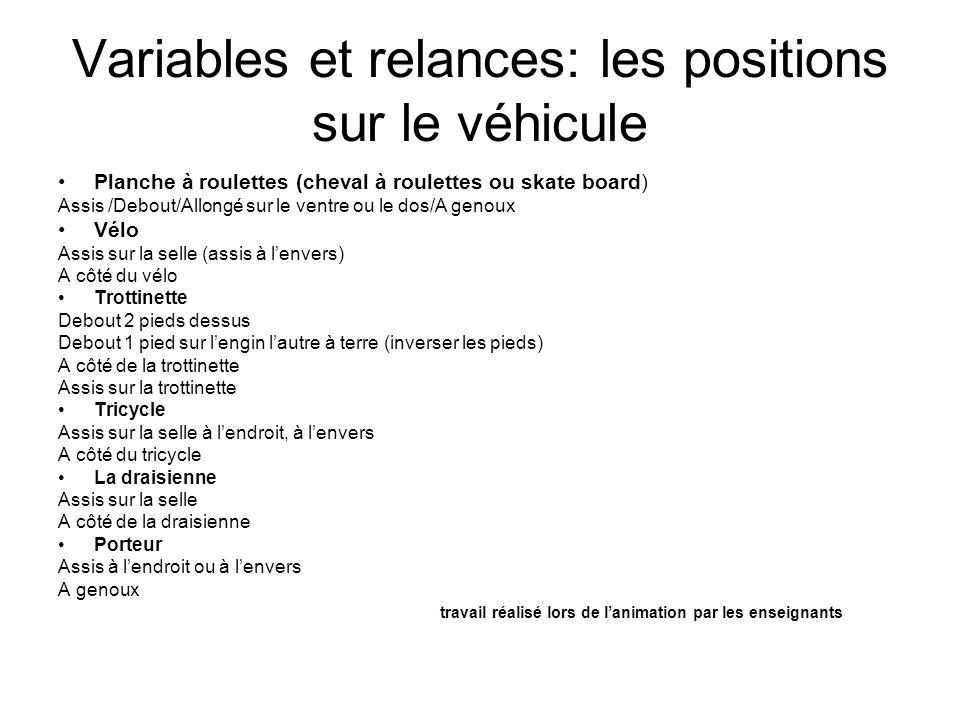 Variables et relances: les positions sur le véhicule
