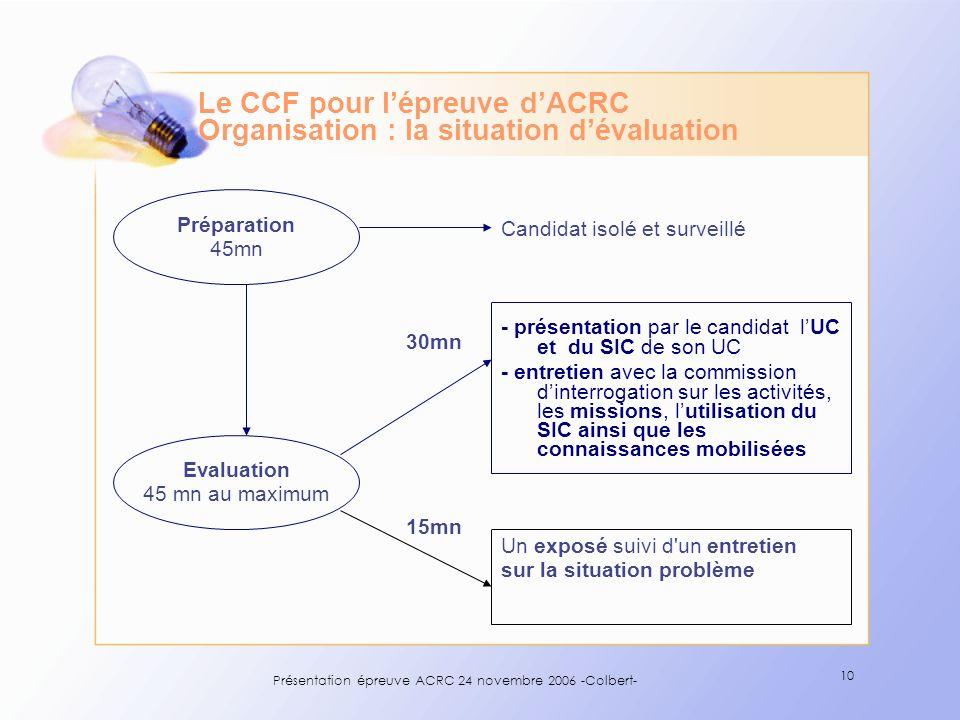 Le CCF pour l'épreuve d'ACRC Organisation : la situation d'évaluation