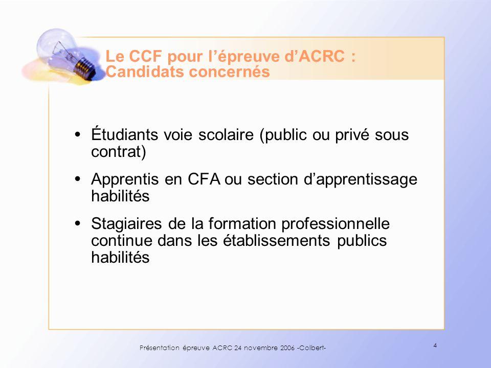 Le CCF pour l'épreuve d'ACRC : Candidats concernés