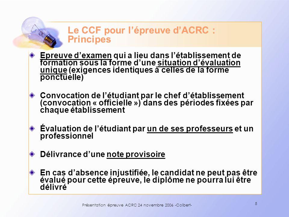 Le CCF pour l'épreuve d'ACRC : Principes
