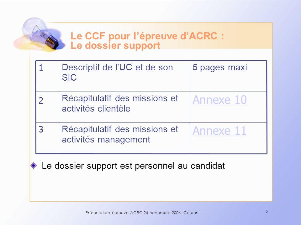 Le CCF pour l'épreuve d'ACRC : Le dossier support