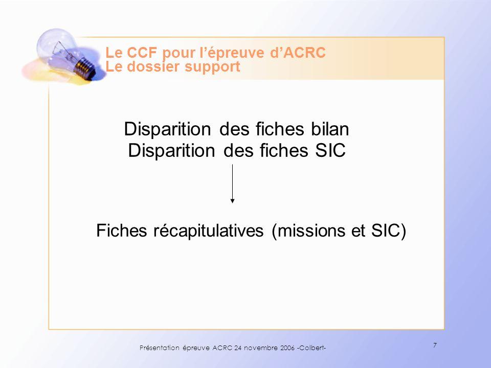 Le CCF pour l'épreuve d'ACRC Le dossier support