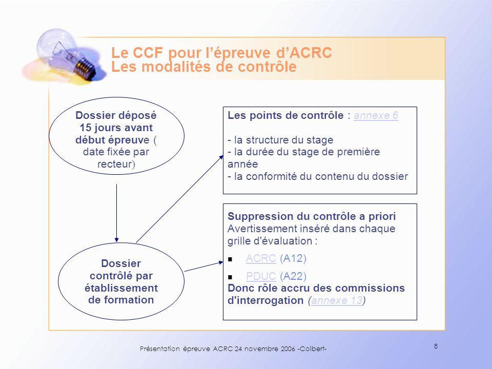 Le CCF pour l'épreuve d'ACRC Les modalités de contrôle
