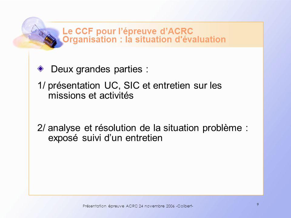 Le CCF pour l'épreuve d'ACRC Organisation : la situation d évaluation