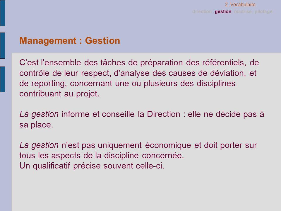 2. Vocabulaire. direction, gestion, maîtrise, pilotage. Management : Gestion.
