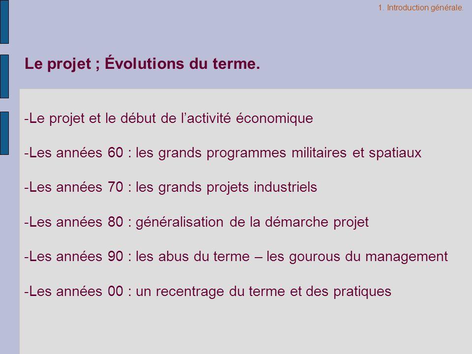 Le projet ; Évolutions du terme.