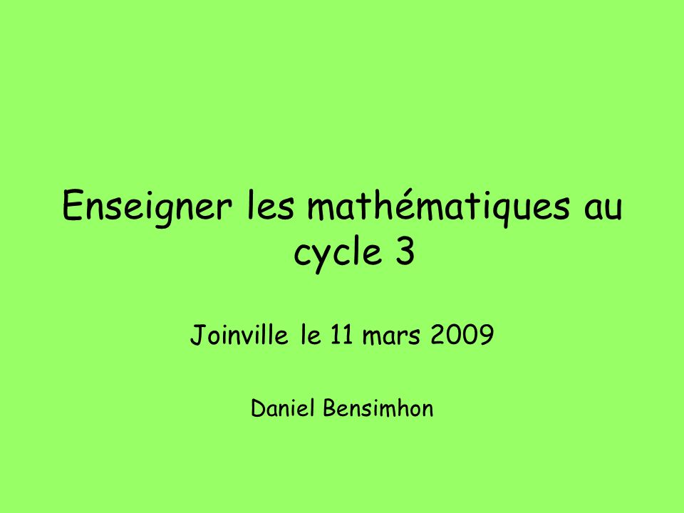 Enseigner les mathématiques au cycle 3