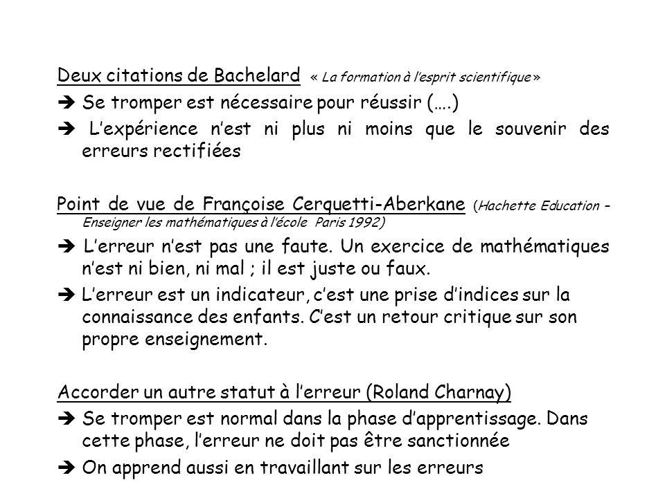 Deux citations de Bachelard « La formation à l'esprit scientifique »