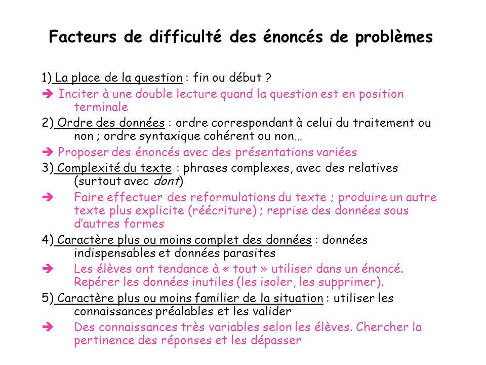 Facteurs de difficulté des énoncés de problèmes