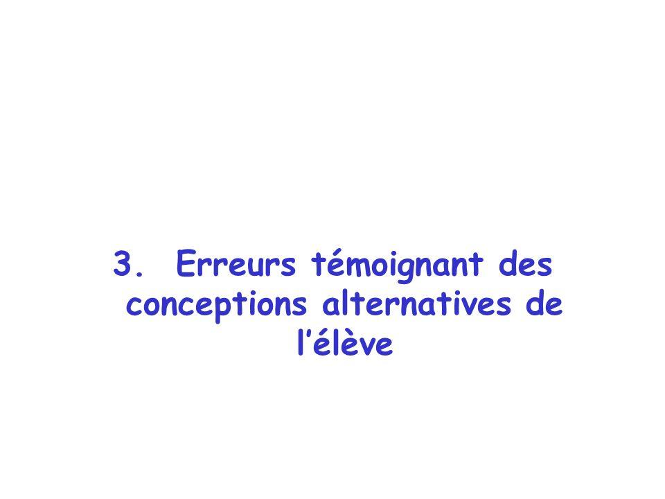 3. Erreurs témoignant des conceptions alternatives de l'élève