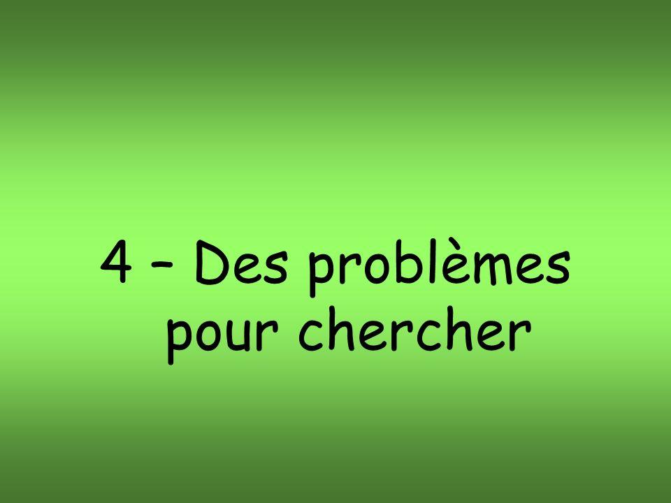 4 – Des problèmes pour chercher