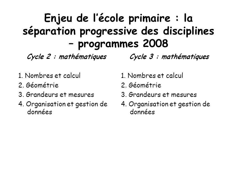 Enjeu de l'école primaire : la séparation progressive des disciplines – programmes 2008