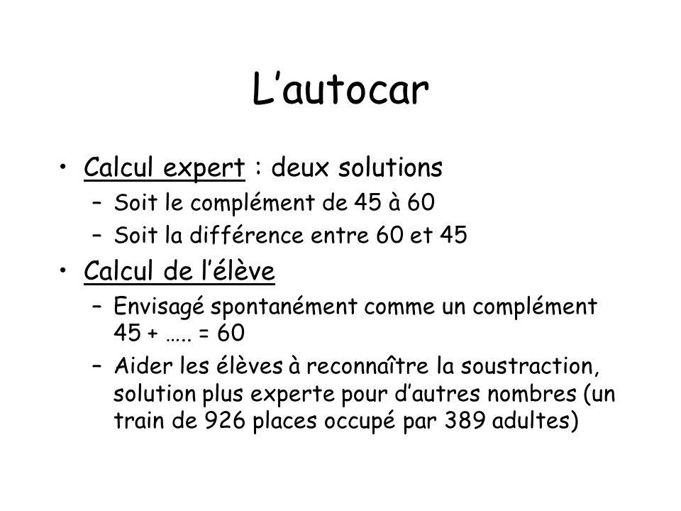 L'autocar Calcul expert : deux solutions Calcul de l'élève
