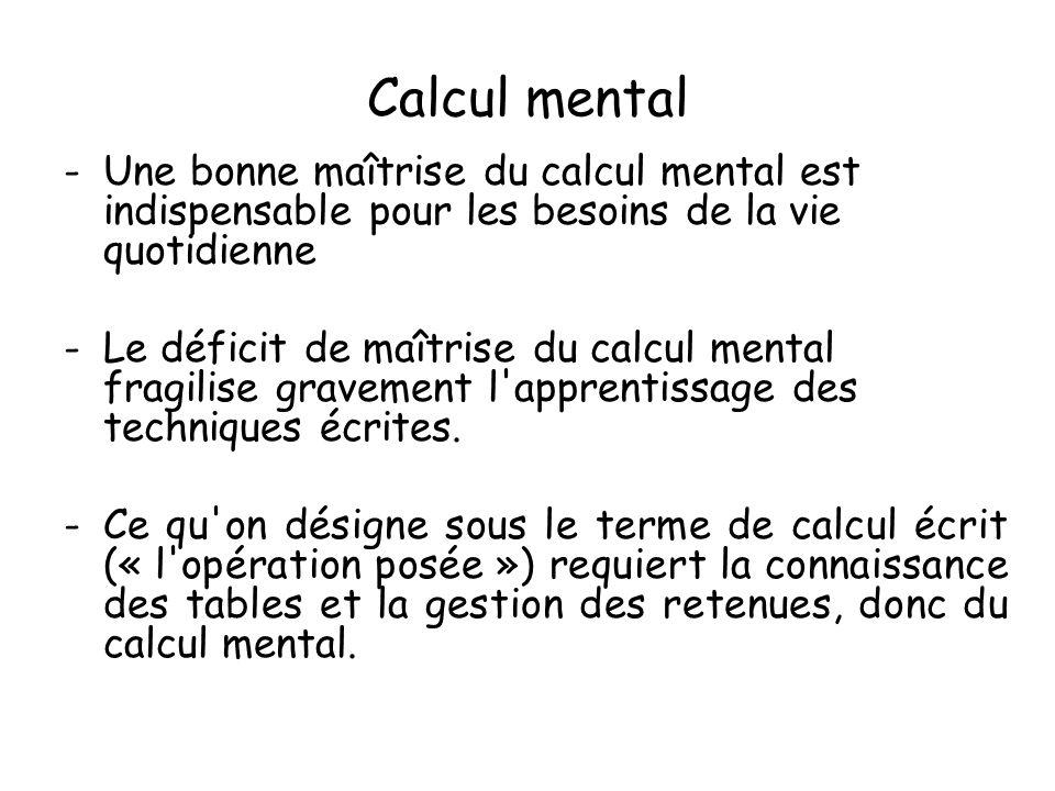 Calcul mentalUne bonne maîtrise du calcul mental est indispensable pour les besoins de la vie quotidienne.