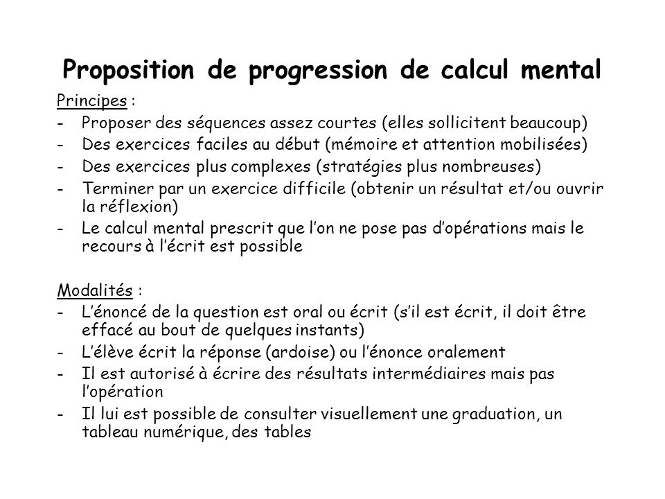 Proposition de progression de calcul mental