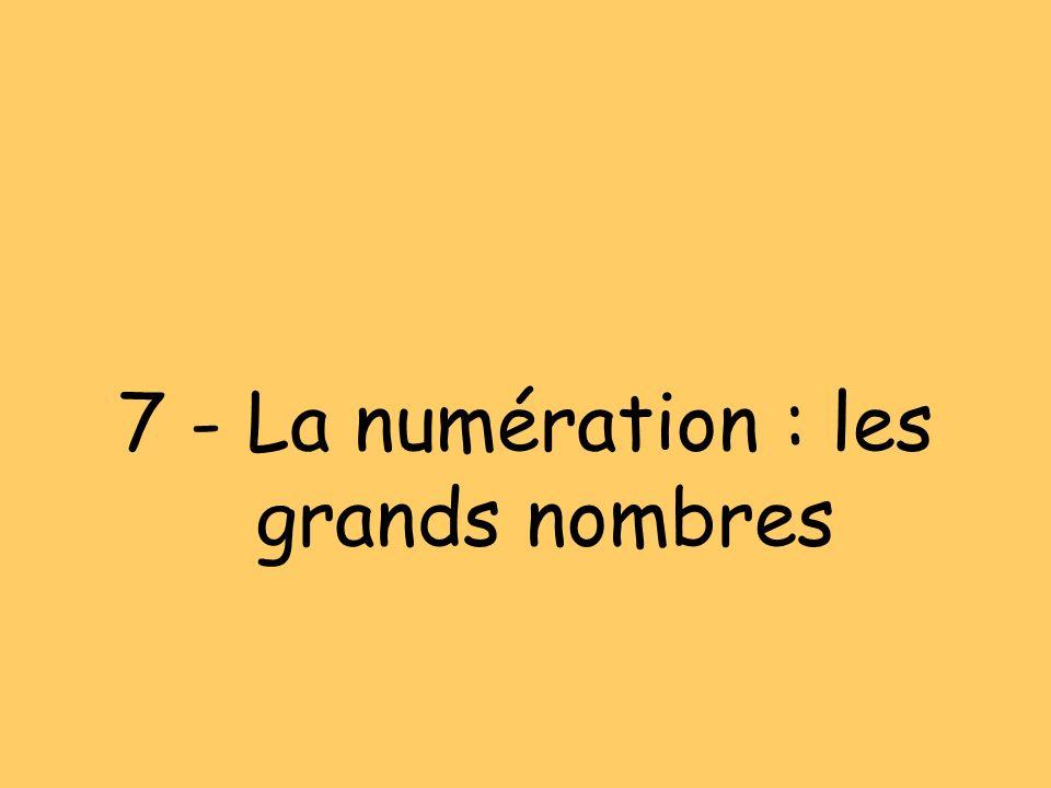 7 - La numération : les grands nombres