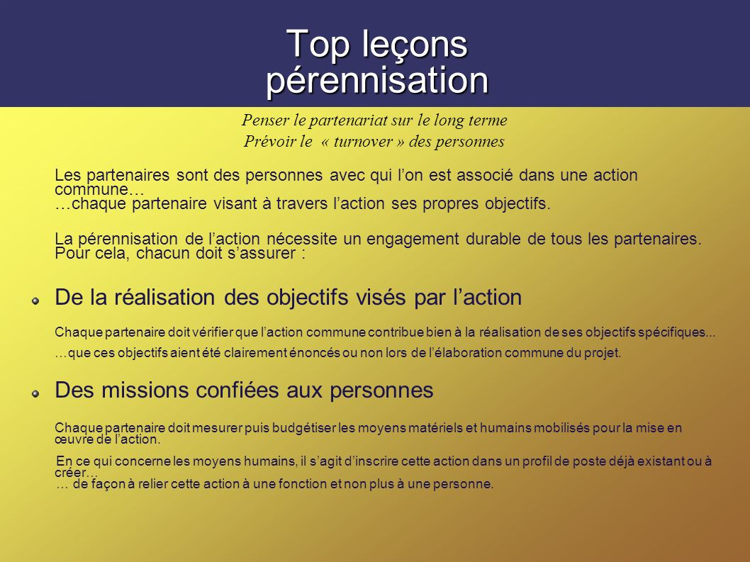 Top leçons pérennisation