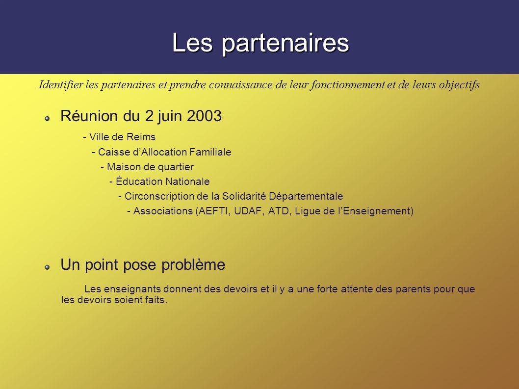Les partenaires Réunion du 2 juin 2003 Un point pose problème