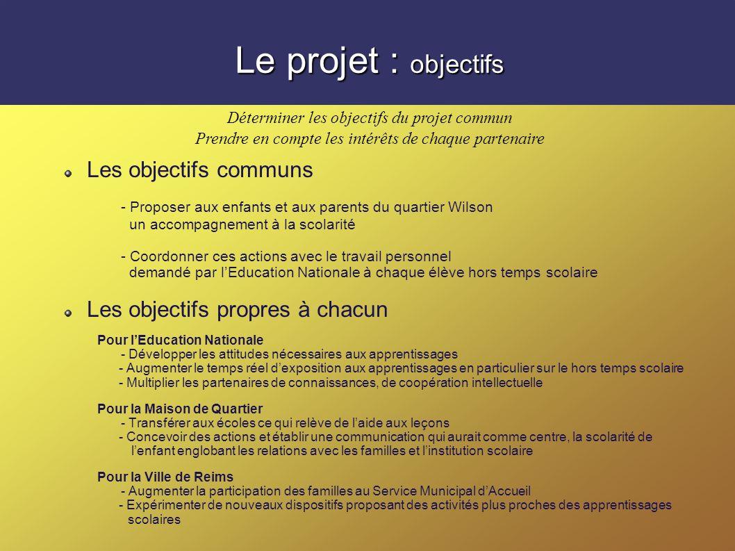 Le projet : objectifs Les objectifs communs