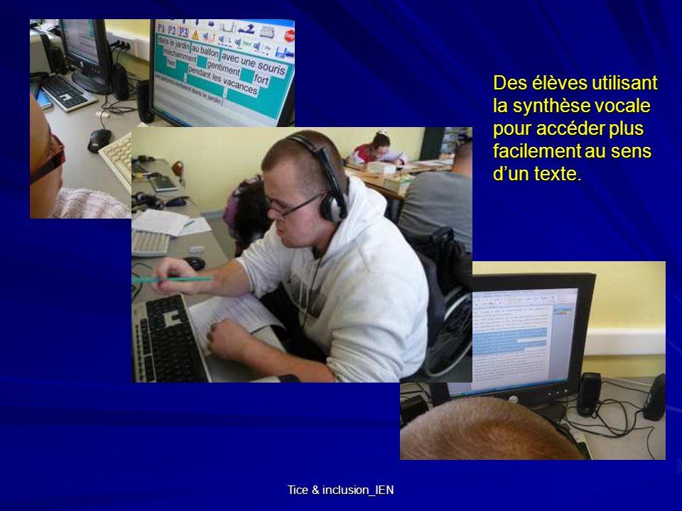 Des élèves utilisant la synthèse vocale pour accéder plus facilement au sens d'un texte.