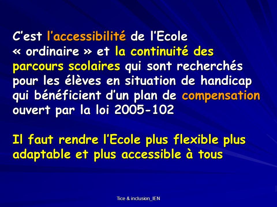 C'est l'accessibilité de l'Ecole « ordinaire » et la continuité des parcours scolaires qui sont recherchés pour les élèves en situation de handicap qui bénéficient d'un plan de compensation ouvert par la loi 2005-102 Il faut rendre l'Ecole plus flexible plus adaptable et plus accessible à tous