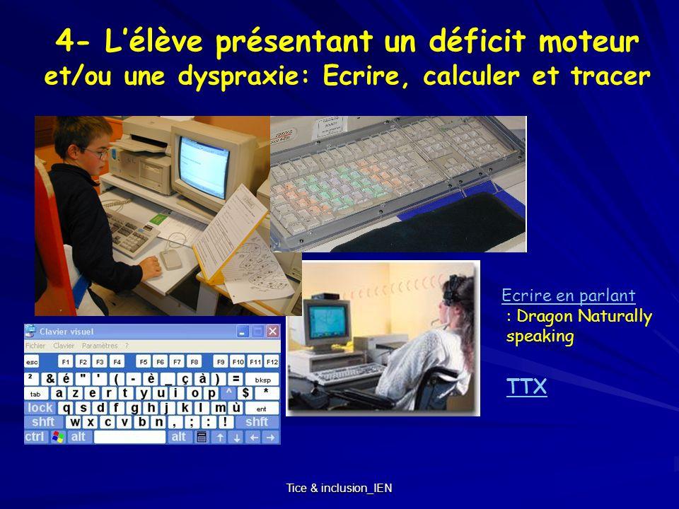 4- L'élève présentant un déficit moteur et/ou une dyspraxie: Ecrire, calculer et tracer