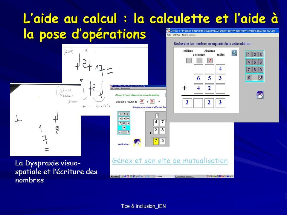 L'aide au calcul : la calculette et l'aide à la pose d'opérations