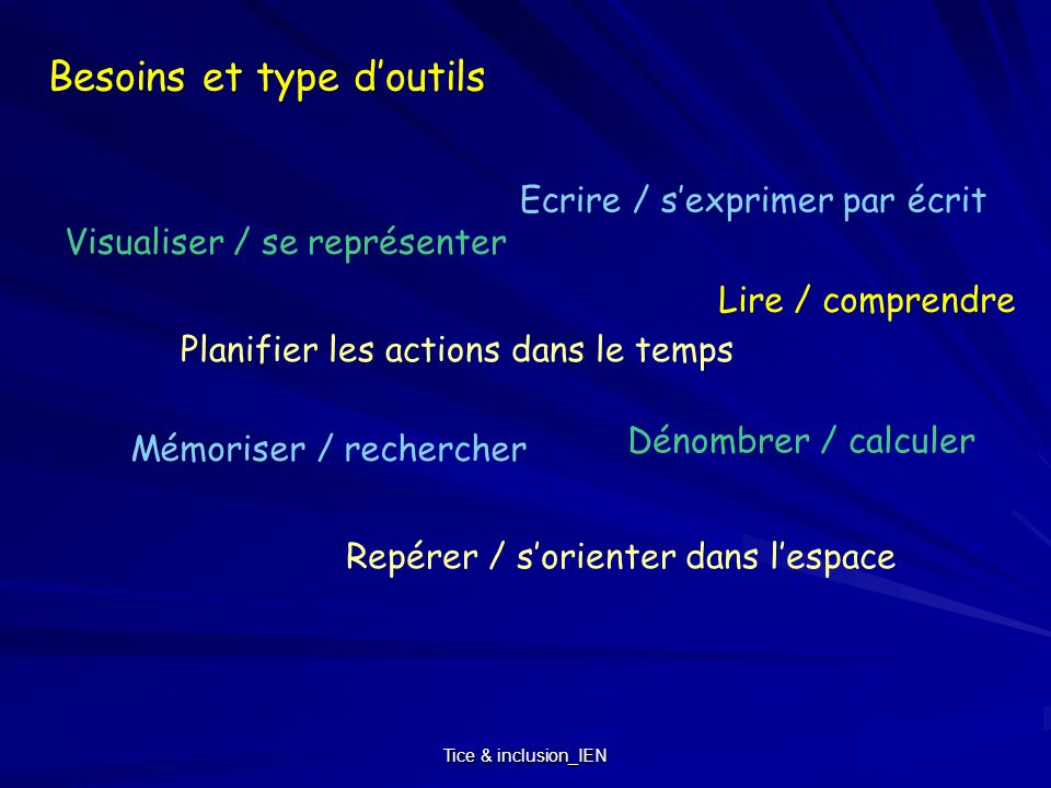 Besoins et type d'outils