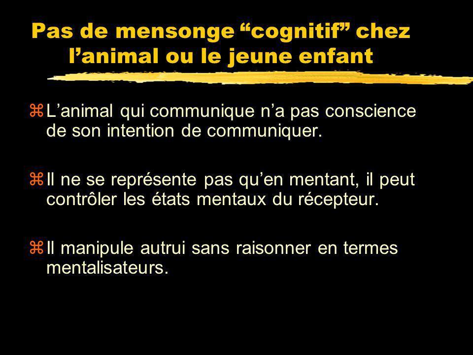 Pas de mensonge cognitif chez l'animal ou le jeune enfant