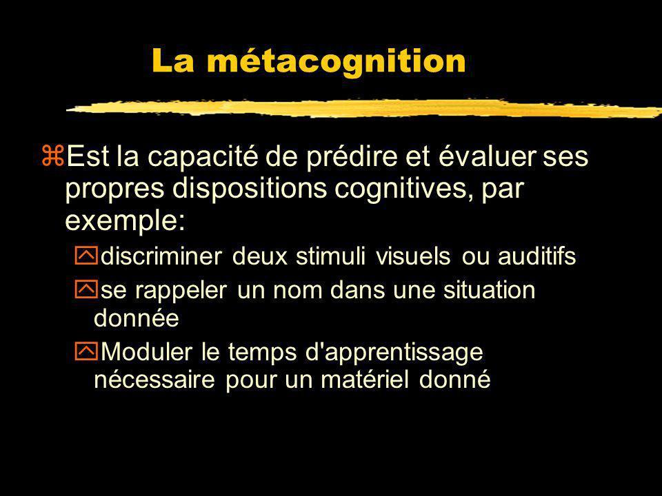 La métacognition Est la capacité de prédire et évaluer ses propres dispositions cognitives, par exemple: