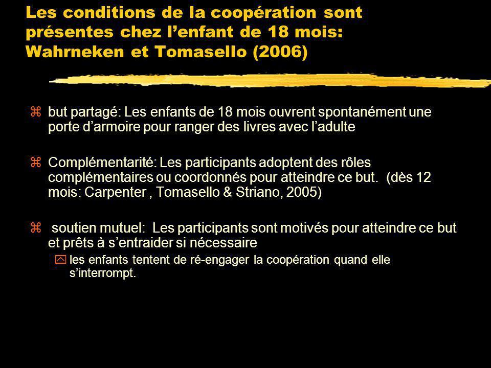 Les conditions de la coopération sont présentes chez l'enfant de 18 mois: Wahrneken et Tomasello (2006)