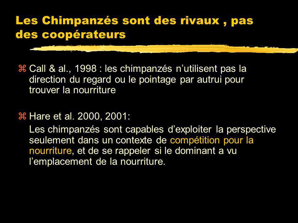 Les Chimpanzés sont des rivaux , pas des coopérateurs
