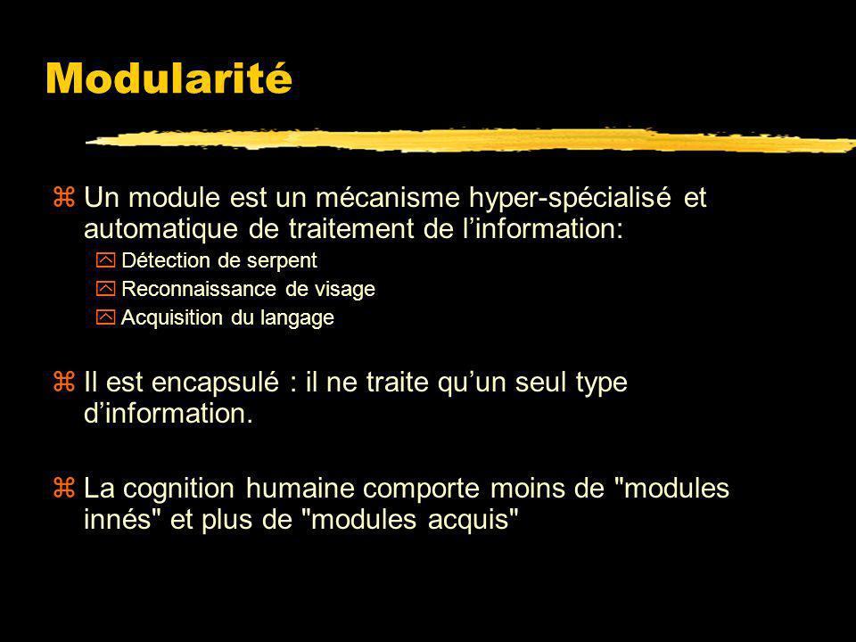 Modularité Un module est un mécanisme hyper-spécialisé et automatique de traitement de l'information: