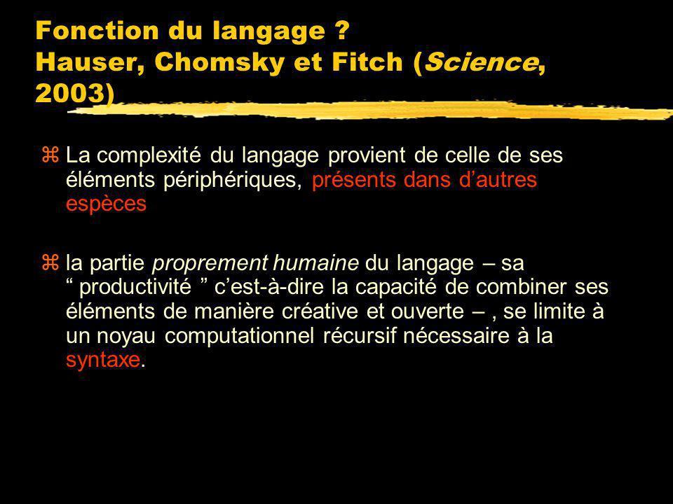 Fonction du langage Hauser, Chomsky et Fitch (Science, 2003)
