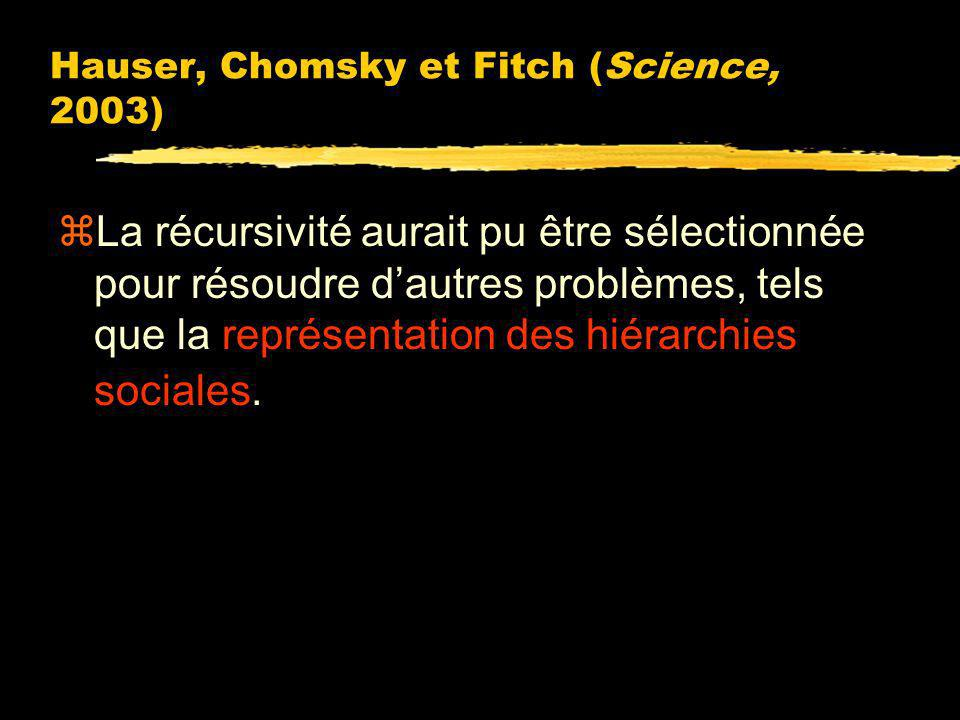 Hauser, Chomsky et Fitch (Science, 2003)
