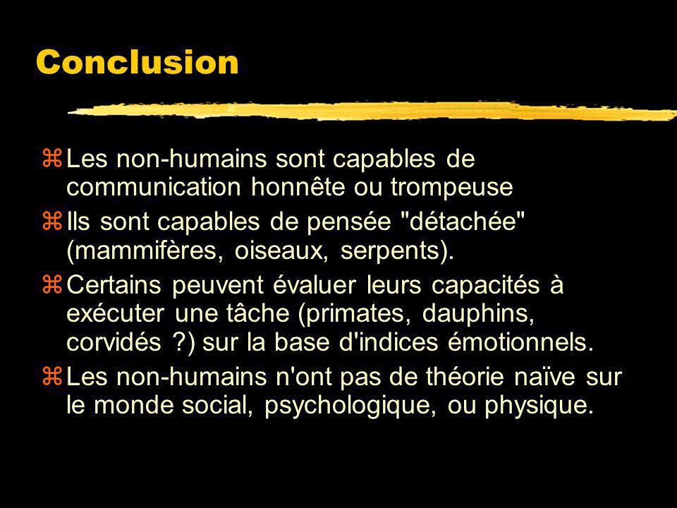 Conclusion Les non-humains sont capables de communication honnête ou trompeuse.