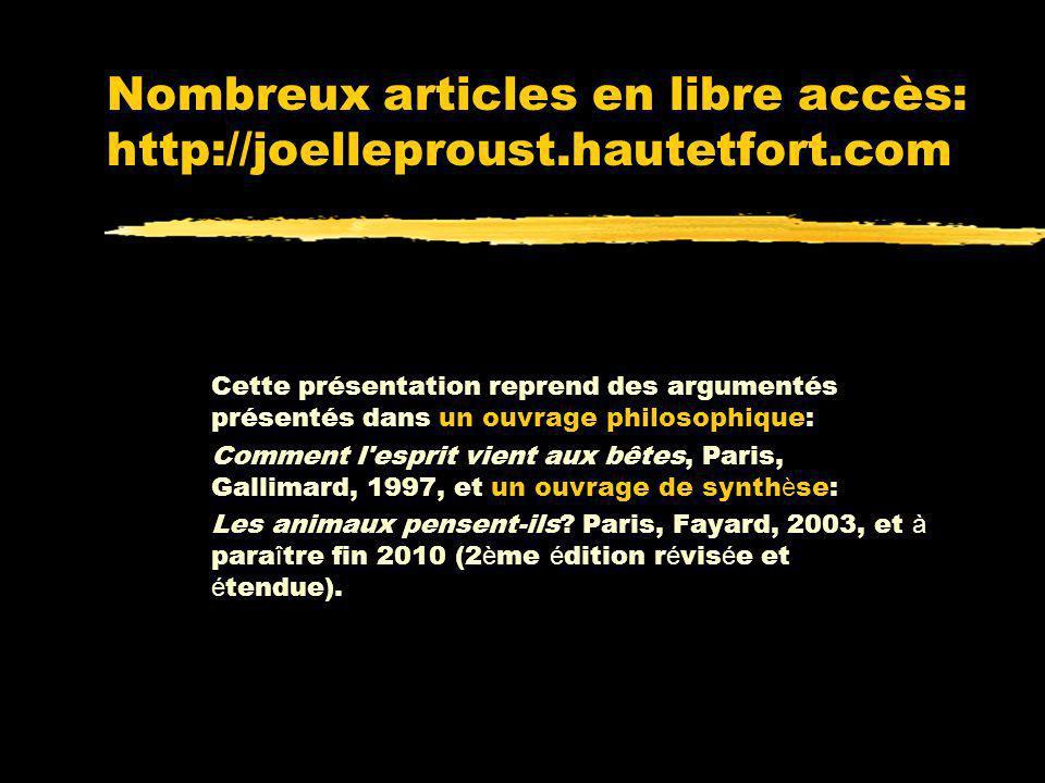 Nombreux articles en libre accès: http://joelleproust.hautetfort.com