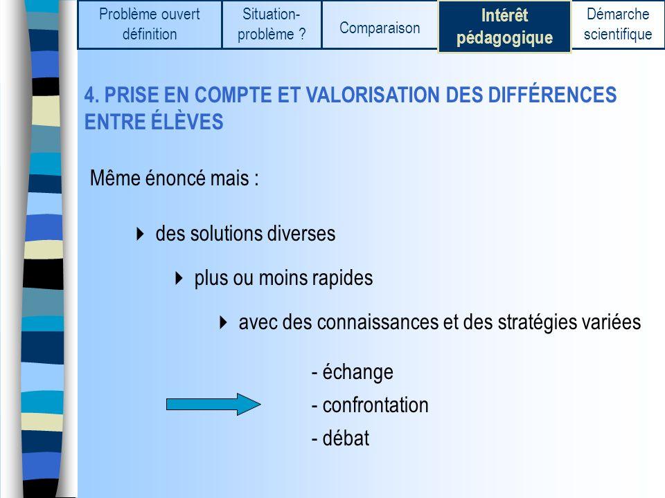 4. PRISE EN COMPTE ET VALORISATION DES DIFFÉRENCES ENTRE ÉLÈVES