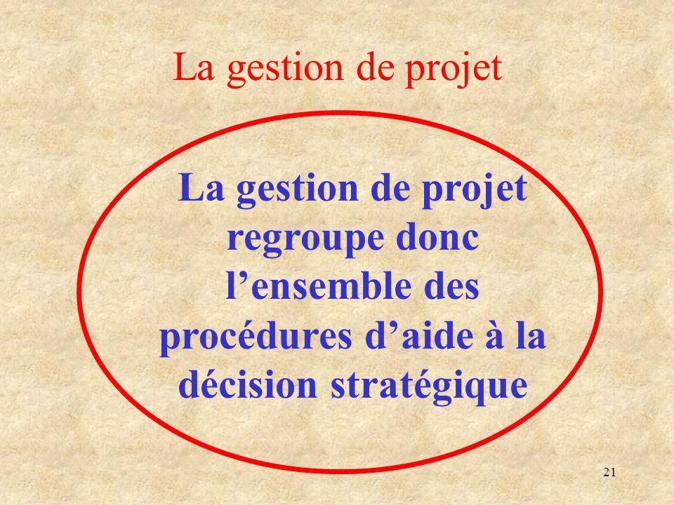 La gestion de projet La gestion de projet regroupe donc l'ensemble des procédures d'aide à la décision stratégique.